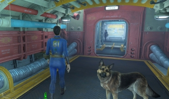 You good companion, Dogmeat, joins the exploration of the underground.