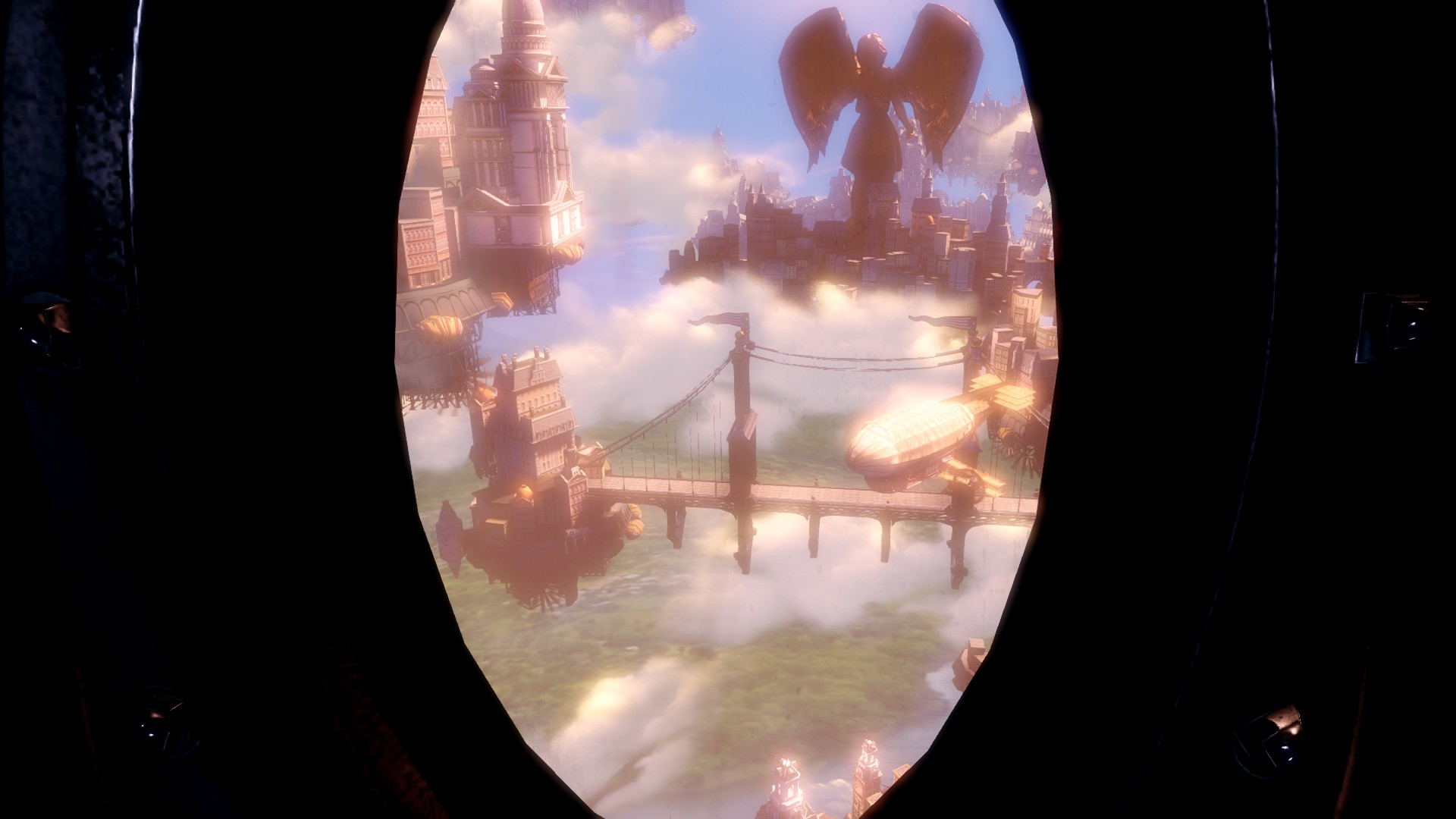 When the pod burst through the white of voluptuous the clouds, the player--for the first time--witnesses the supposed Utopia of Columbia.