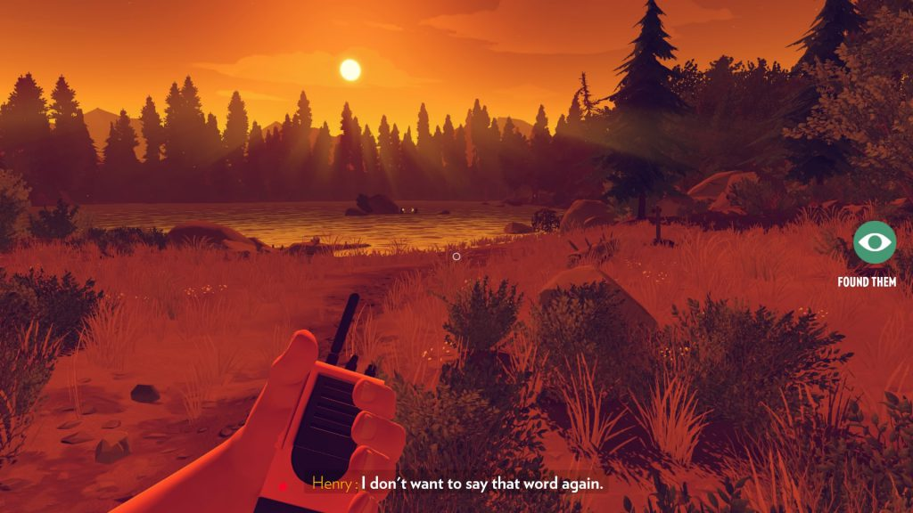 The game begins with the player exploring a party at a picturesque lake.